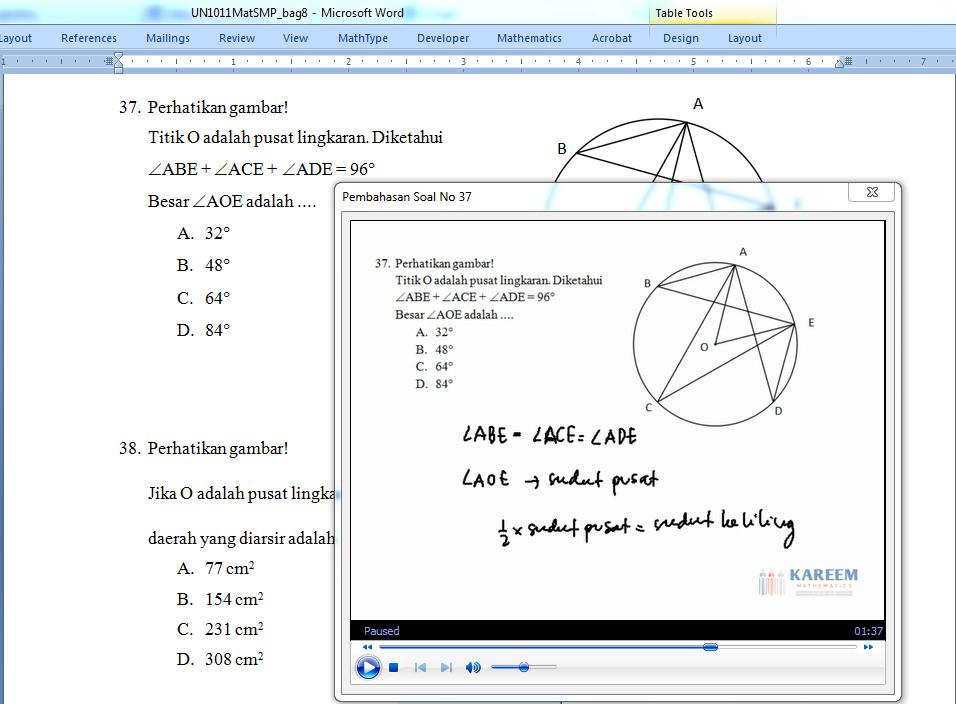 Microsoft Word Interaktif : Pembahasan Soal UN Matematika SMP tahun