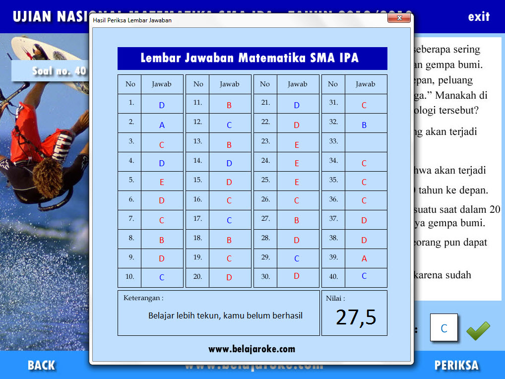 Soal Interaktif Powerpoint Un Matematika Sma Ipa 2013 Link Pembahasan Video Di Channel