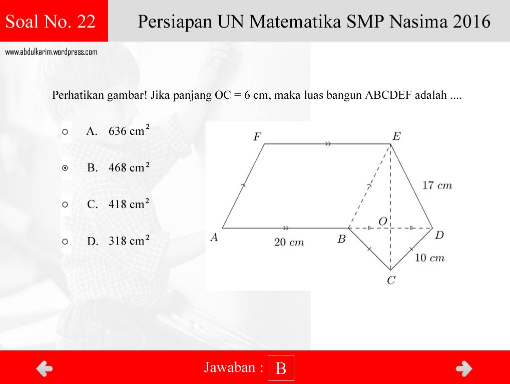 Soal Interaktif Dan Solusi Un Matematika Smp Tahun 2015 2016 Abdul Karim